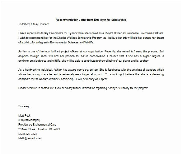 Scholarship Recommendation Letter Samples Luxury Letters Of Re Mendation for Scholarship 26 Free