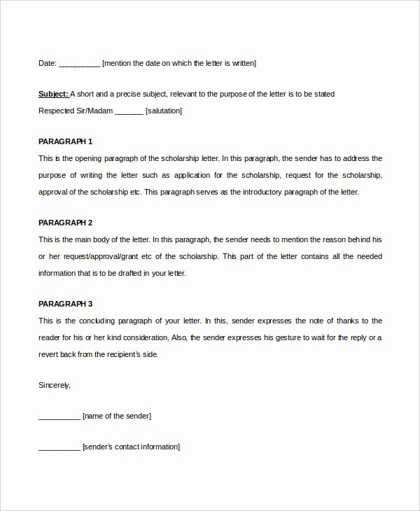 Scholarship Recommendation Letter Template Awesome Scholarship Letter Template 11 Free Sample Example