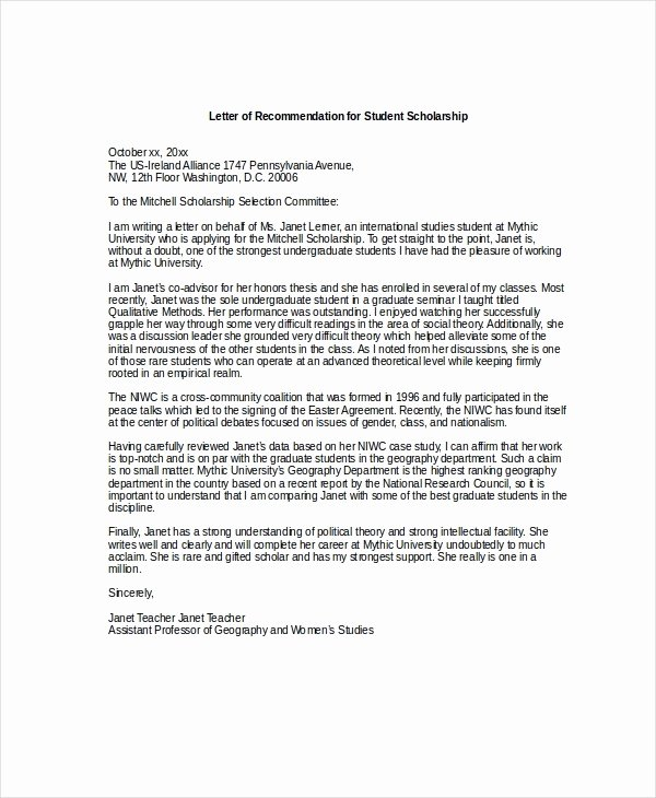 Scholarship Recommendation Letter Template Best Of Letters Re Mendation for Scholarships 2018