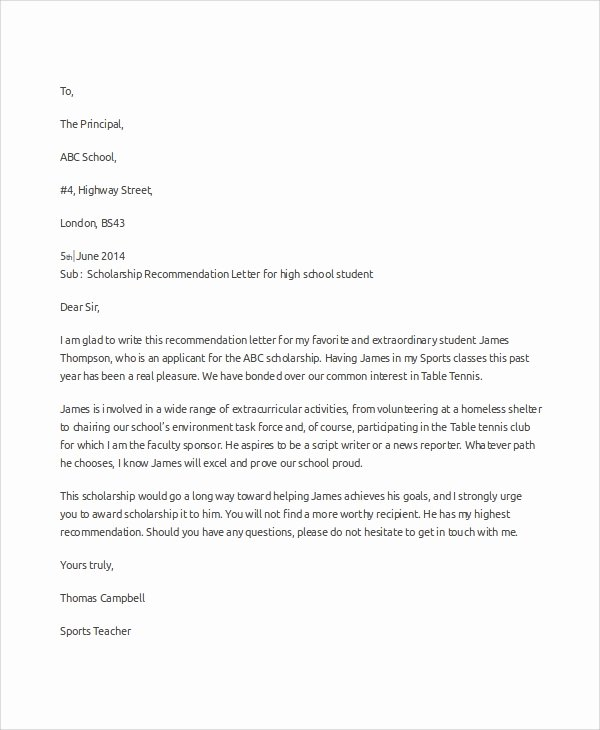 Scholarship Recommendation Letter Template Fresh Sample Scholarship Re Mendation Letter 7 Examples In