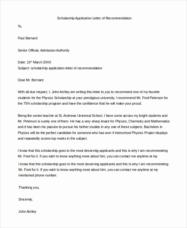 Scholarship Recommendation Letter Template Inspirational Example Of Re Mendation Letter 10 Samples In Pdf Word