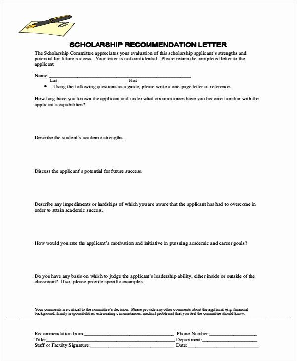 Scholarship Recommendation Letter Template Inspirational Sample Letter Of Re Mendation 7 Examples In Word Pdf