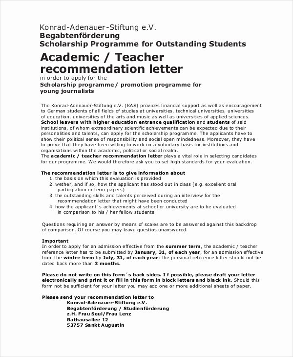 Scholarship Recommendation Letter Template Lovely Scholarship Re Mendation Letter Free Sample Example