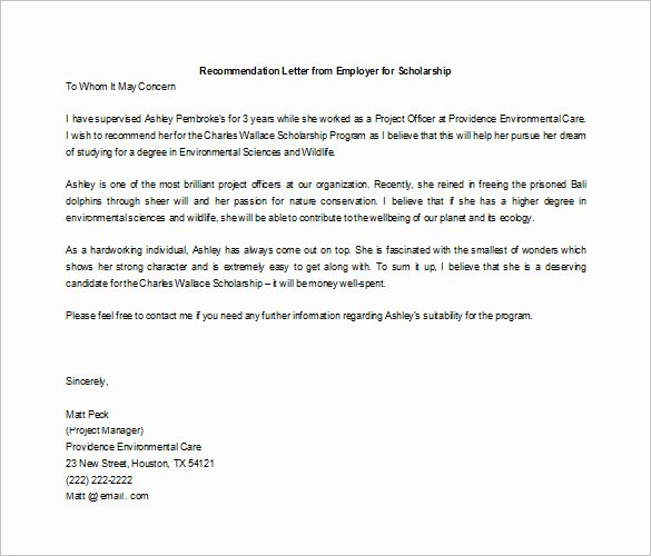 Scholarship Recommendation Letter Template New 6 Letters Of Re Mendation for Scholarship Word Excel