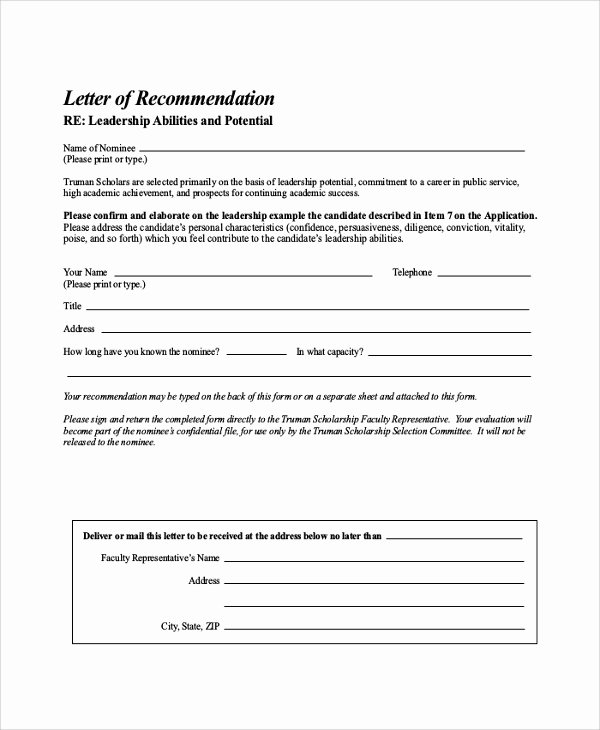 Scholarship Recommendation Letter Template New Free 32 Sample Letters Of Re Mendation for Scholarship