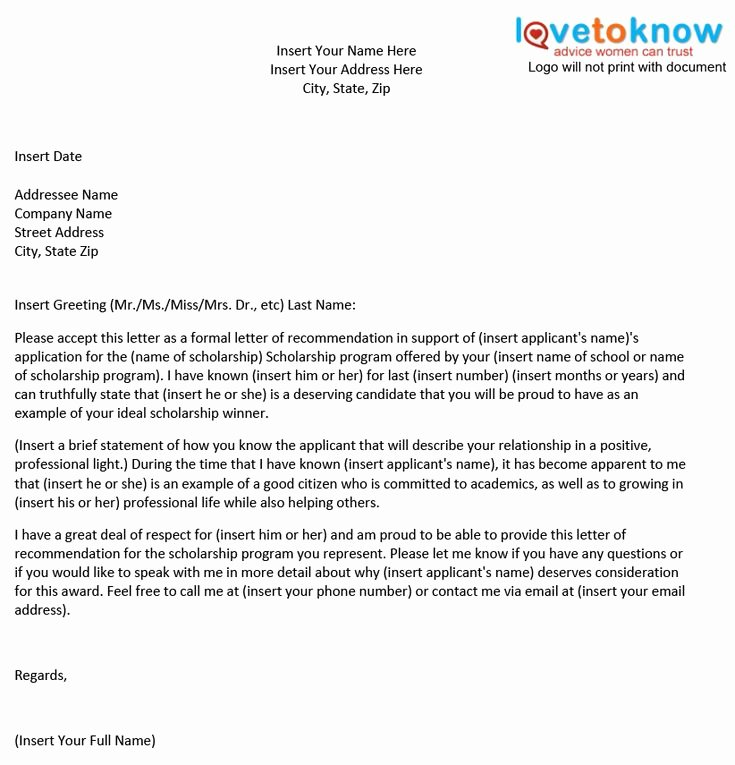 Scholarship Recommendation Letter Template New Personal Scholarship Re Mendation Letter