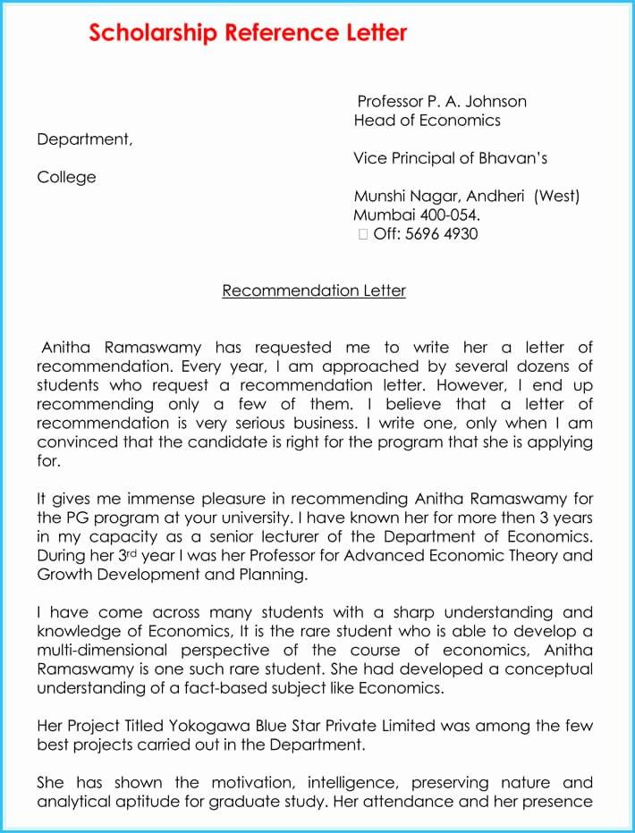 Scholarship Recommendation Letter Templates Awesome Scholarship Reference Re Mendation Letters 7 Sample