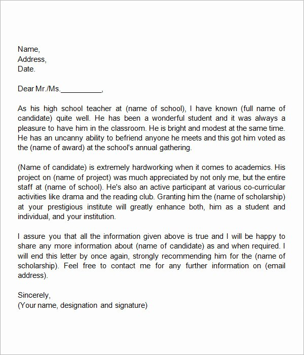 Scholarship Recommendation Letter Templates Beautiful Free 32 Sample Letters Of Re Mendation for Scholarship
