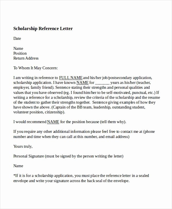 Scholarship Recommendation Letter Templates Elegant 6 College Reference Letter Templates Free Sample