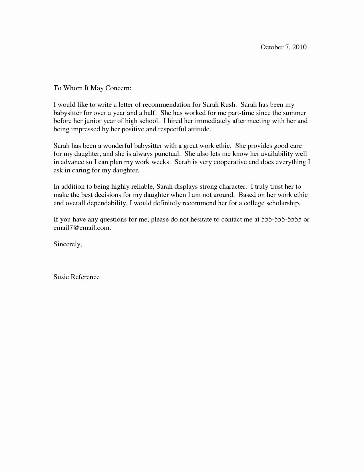 Scholarship Recommendation Letter Templates Elegant Scholarship Re Mendation Letter Scholarship