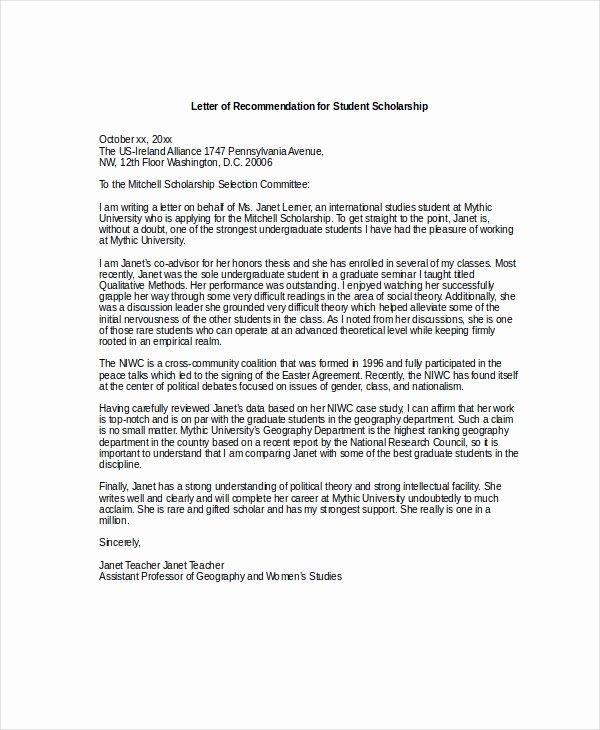 Scholarship Recommendation Letter Templates Fresh Scholarship Re Mendation Letter Free Sample Example