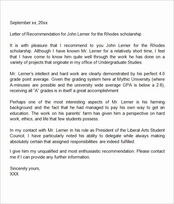 Scholarship Recommendation Letter Templates Inspirational Sample Letter Of Re Mendation for Scholarship 10 Free