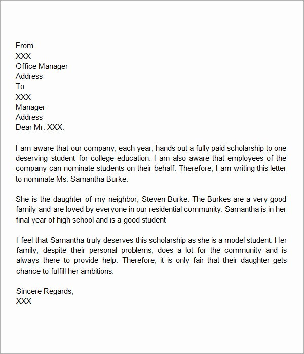 Scholarship Recommendation Letter Templates Lovely Free 32 Sample Letters Of Re Mendation for Scholarship