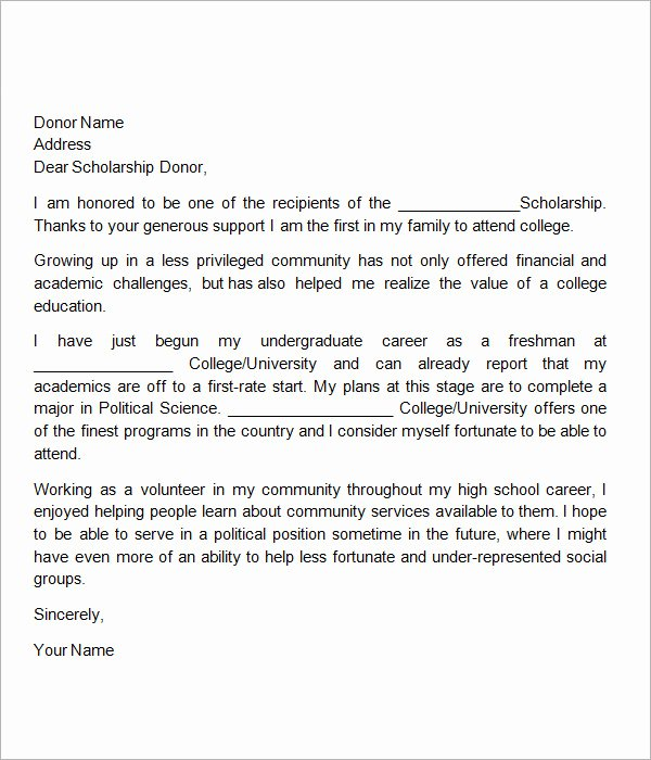 Scholarship Thank You Letter Examples Beautiful Free 13 Sample Scholarship Thank You Letters In Doc