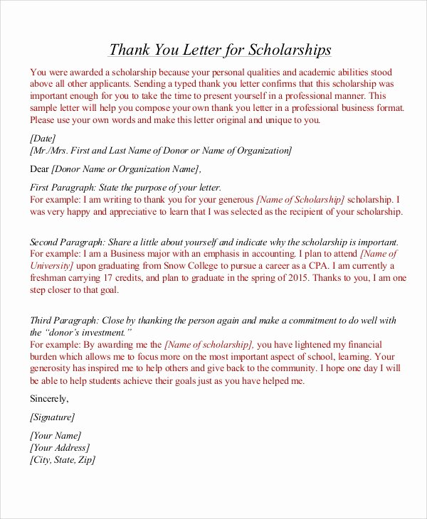 Scholarship Thank You Letter Examples Beautiful Sample Thank You Letter for Scholarship 7 Examples In