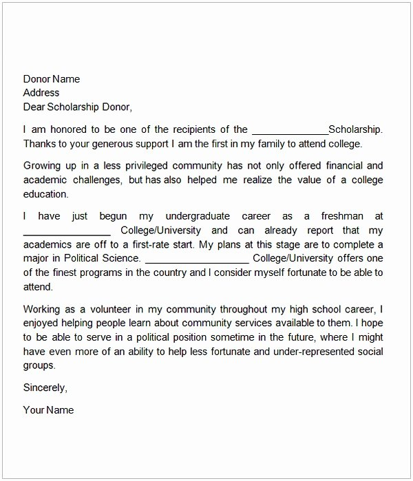 Scholarship Thank You Letter Examples Best Of Thank You Letter for Scholarship Sample