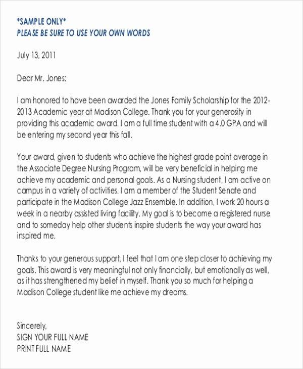 Scholarship Thank You Letter Examples Elegant Sample Thank You Letter for Scholarship Award 5