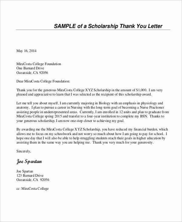 Scholarship Thank You Letter Examples Fresh Sample Thank You Letter for Scholarship 7 Examples In