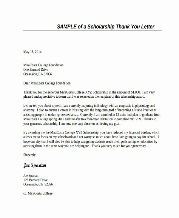 Scholarship Thank You Letter Examples New Free 74 Thank You Letter Examples In Doc Pdf