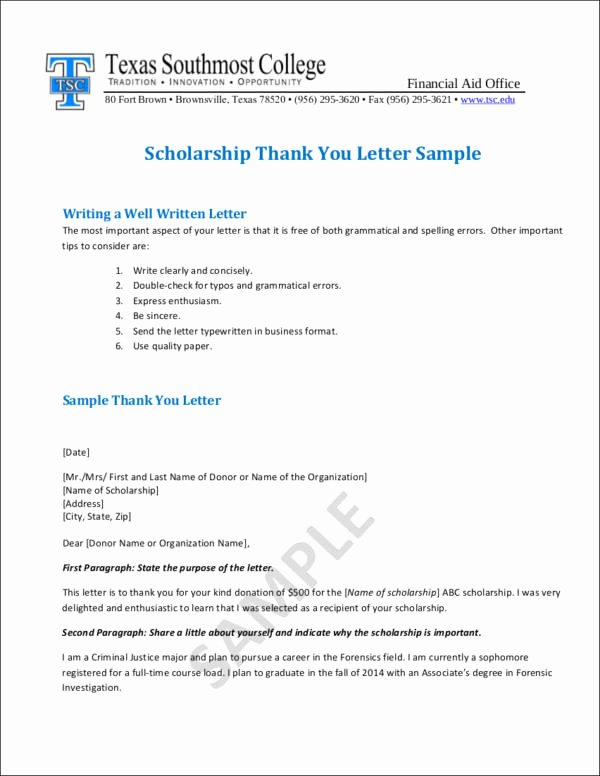 Scholarship Thank You Letter Examples New Writing College Scholarship Thank You Letters