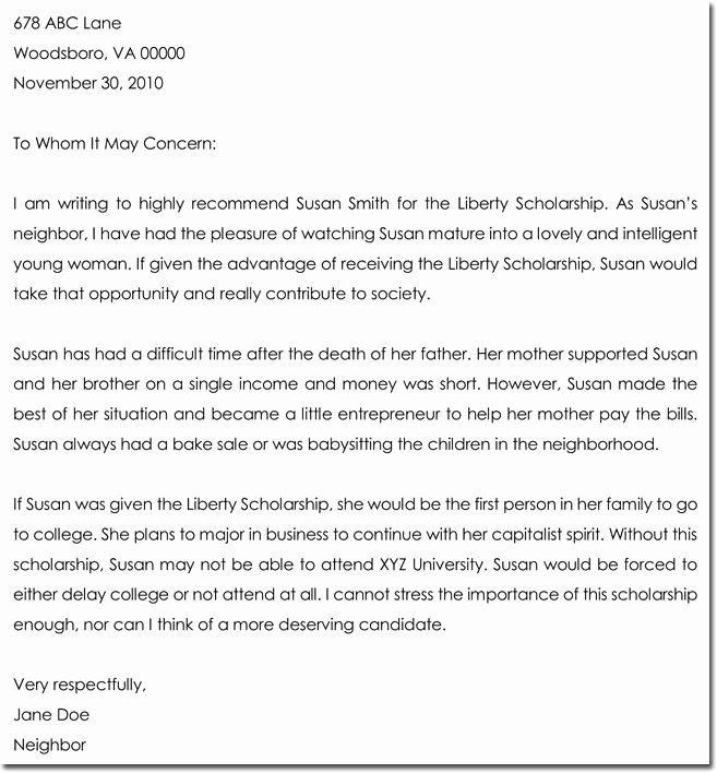 Scholarships Recommendation Letter Templates Elegant Letter Of Re Mendation for Scholarship 8 Best Samples