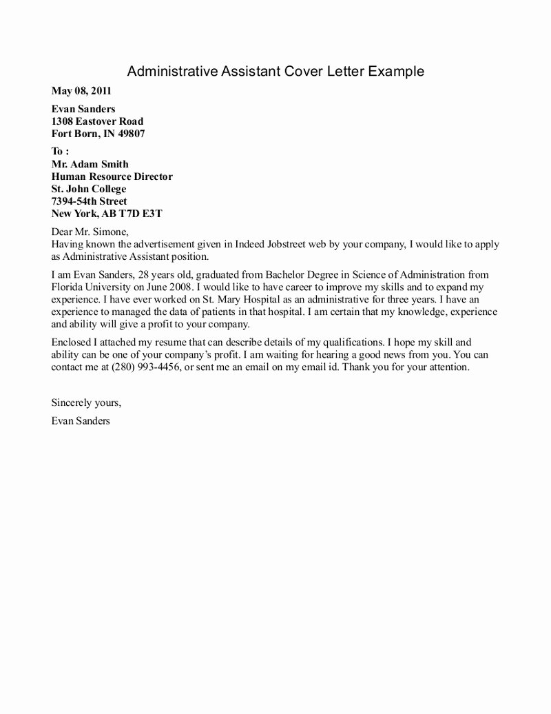 School Administrative assistant Cover Letter Beautiful Administrative assistant Cover Letters 2016