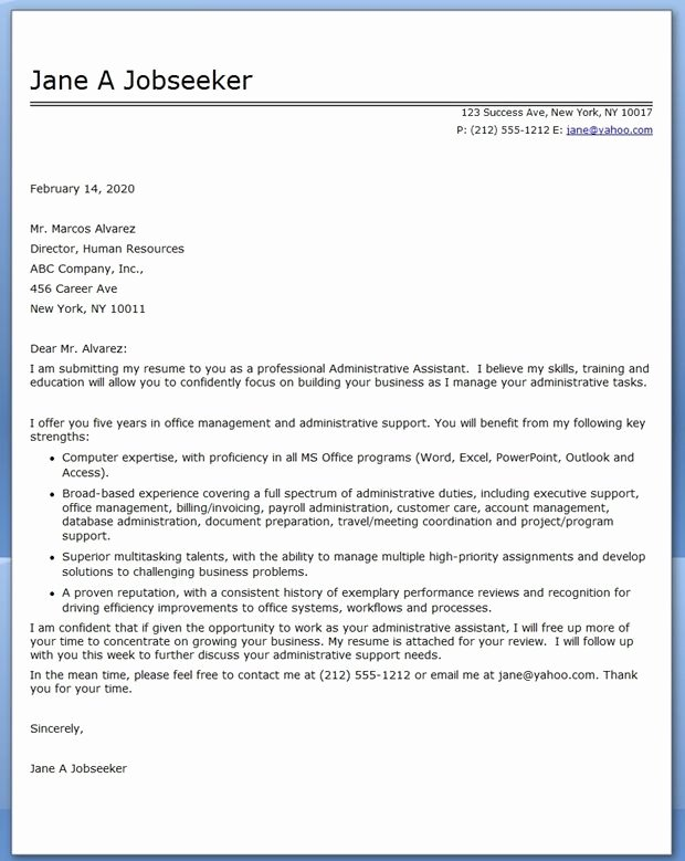 School Administrative assistant Cover Letter Fresh Administrative assistant Cover Letter Sample