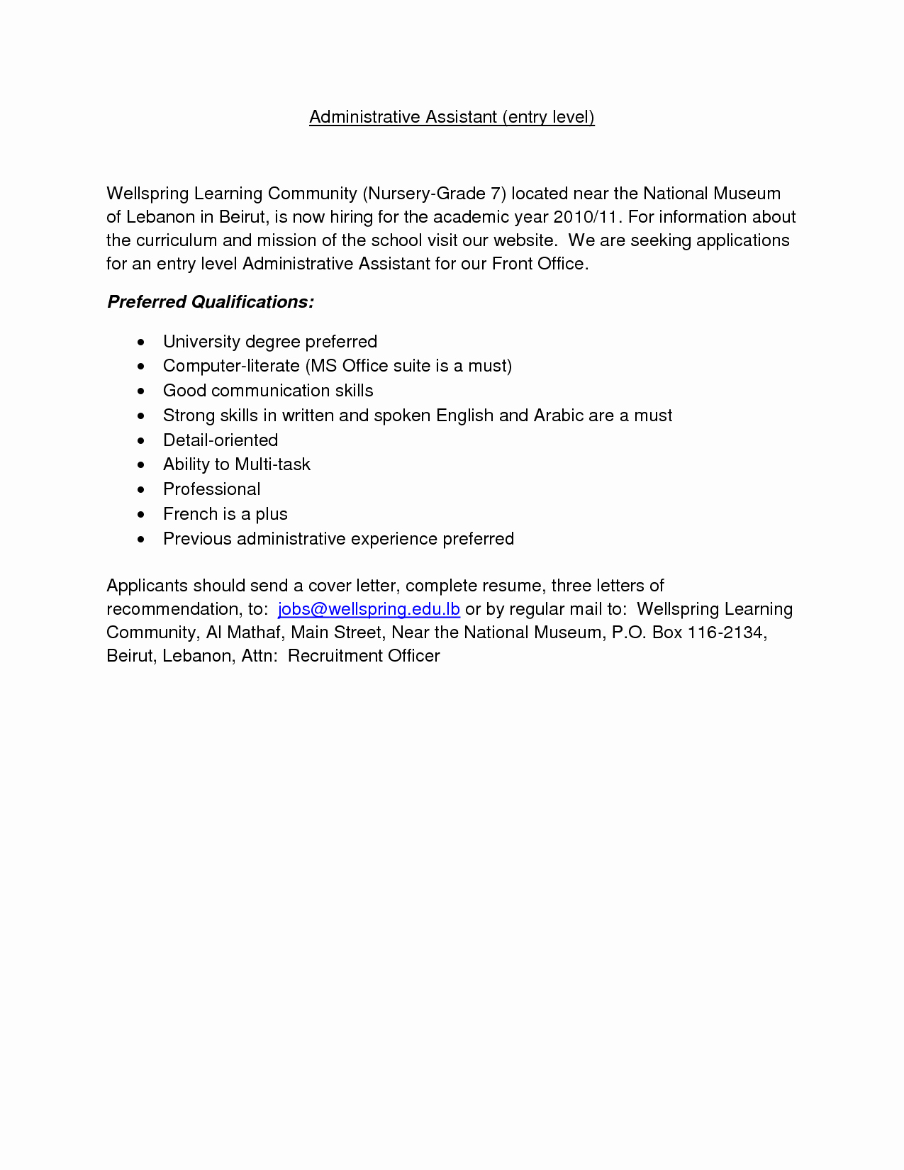 School Administrative assistant Cover Letter Fresh Resume Examples Templates Entry Level Administrative