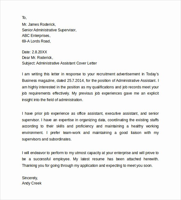 School Administrative assistant Cover Letter Lovely Entry Level Administrative assistant Cover Letter