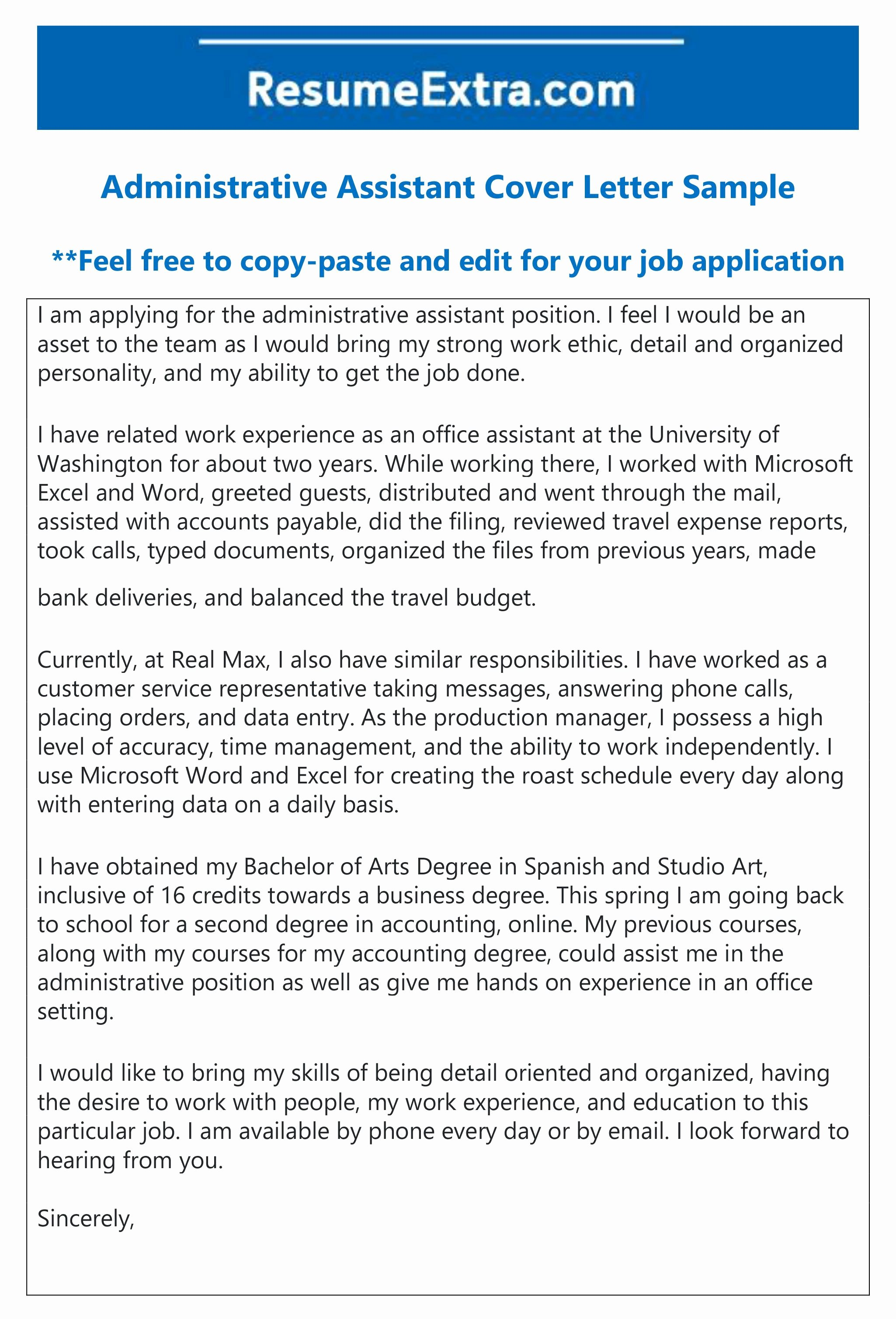 School Administrative assistant Cover Letter Lovely Free Administrative assistant Cover Letter Sample Layout