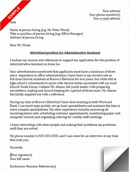 School Administrative assistant Cover Letter Luxury Administrative assistant Cover Letter Sample