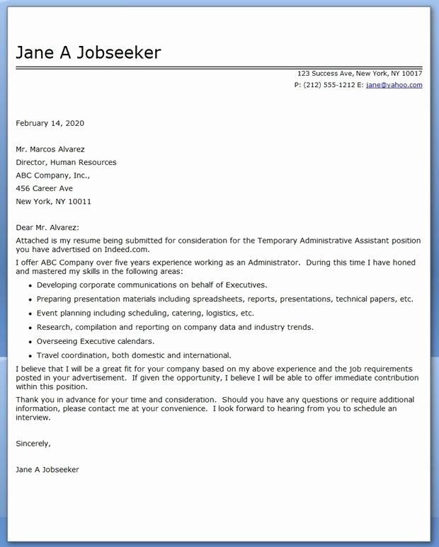 School Administrative assistant Cover Letter New Administrative assistant Cover Letter Temp