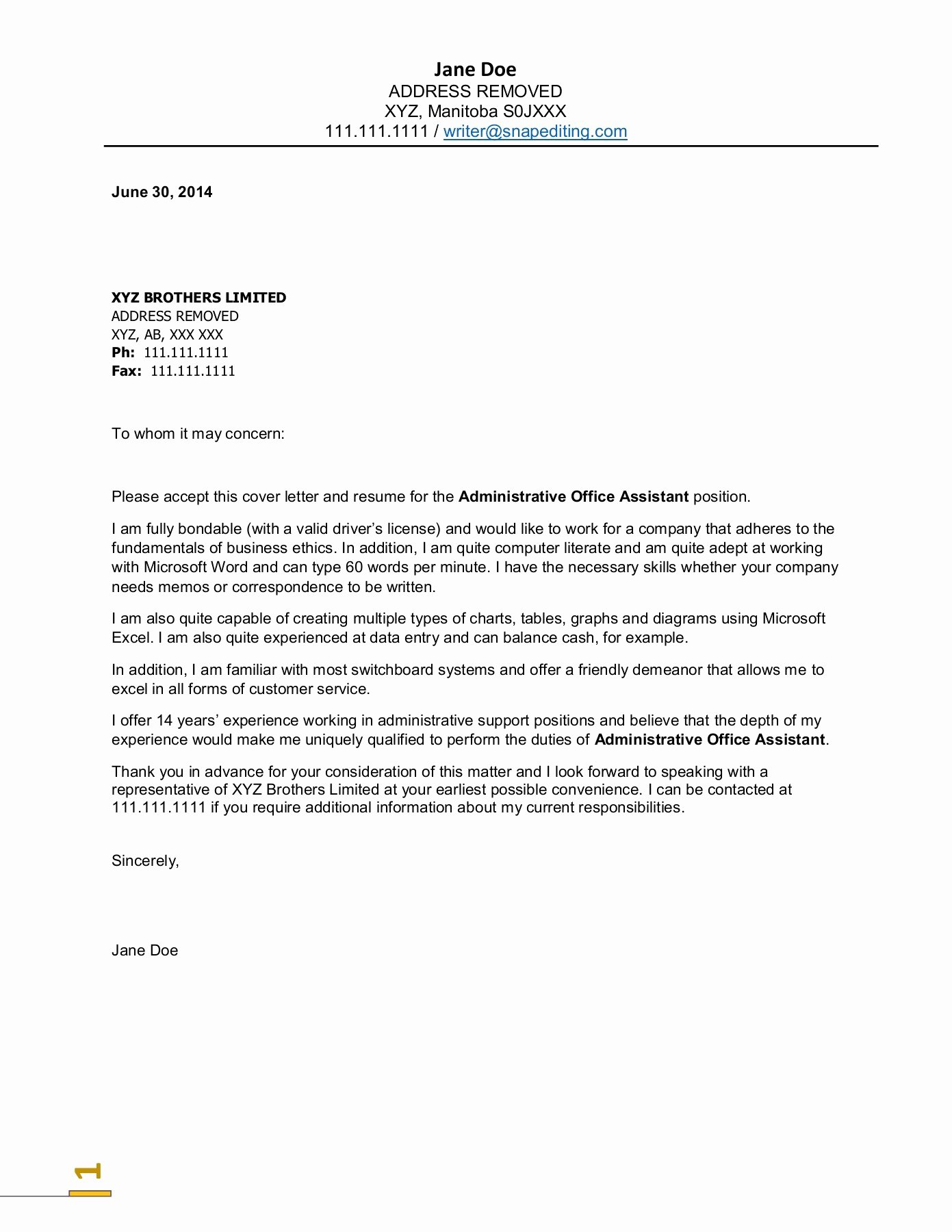 School Administrative assistant Cover Letter Unique Administrative assistant Reference Letter Cover Letter