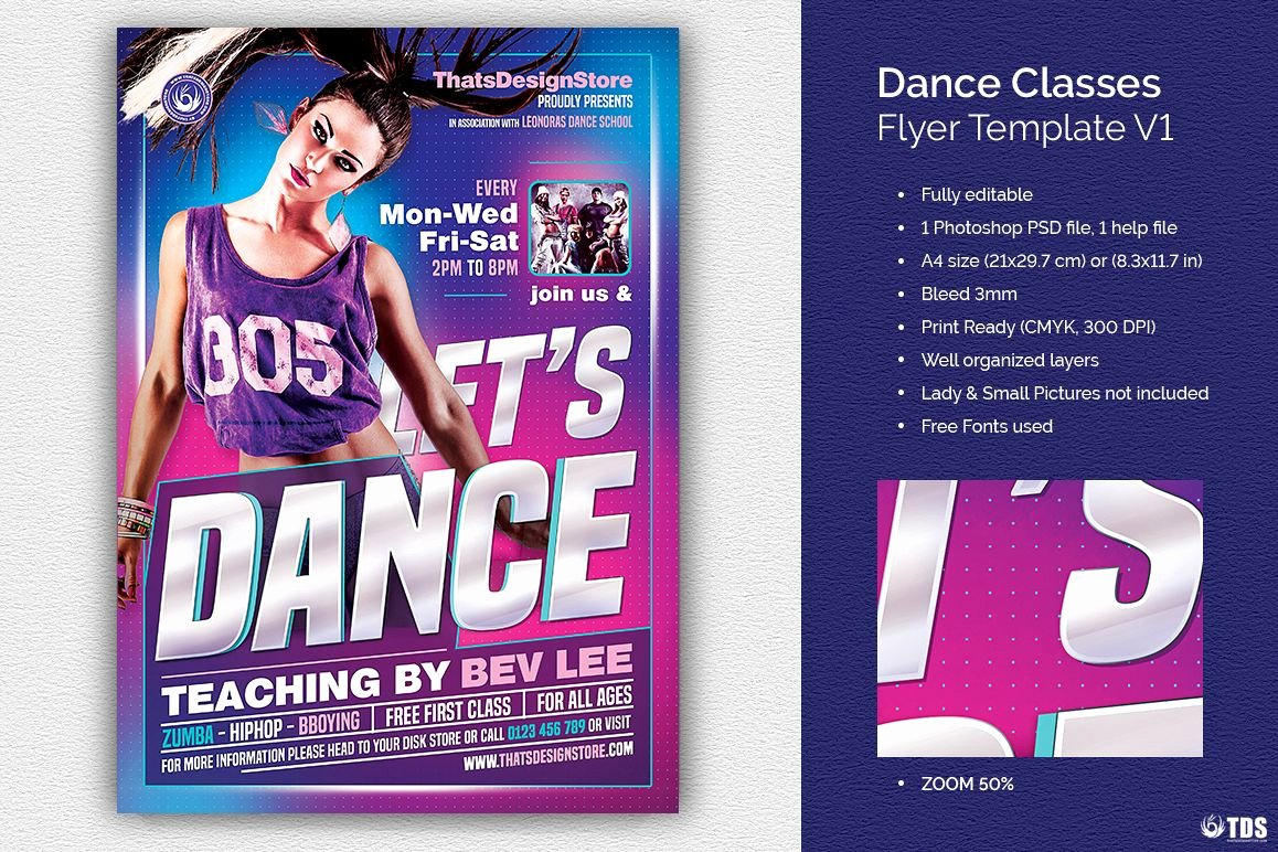 School Dance Flyer Template Awesome Dance Classes Flyer Template V1 by Tdst