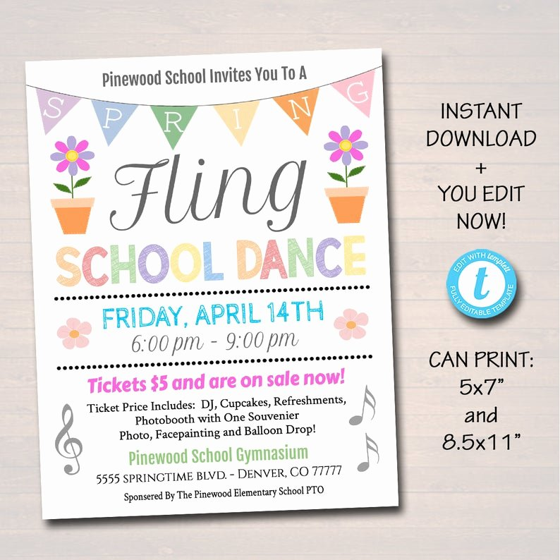 School Dance Flyer Template Best Of Editable Spring Fling School Dance Set Invitation Flyer