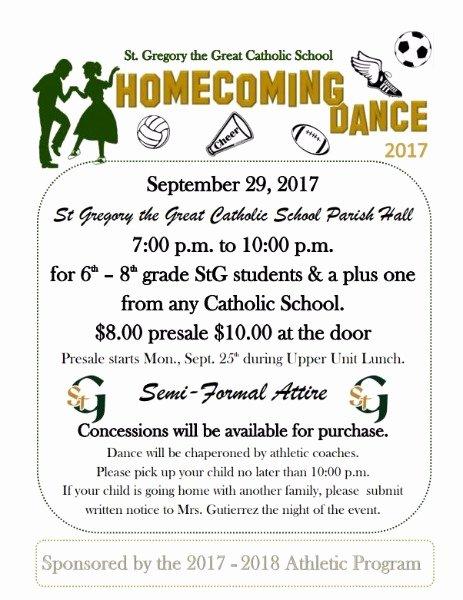 School Dance Flyer Template Fresh Saint Gregory the Great Catholic School 2017 Stg