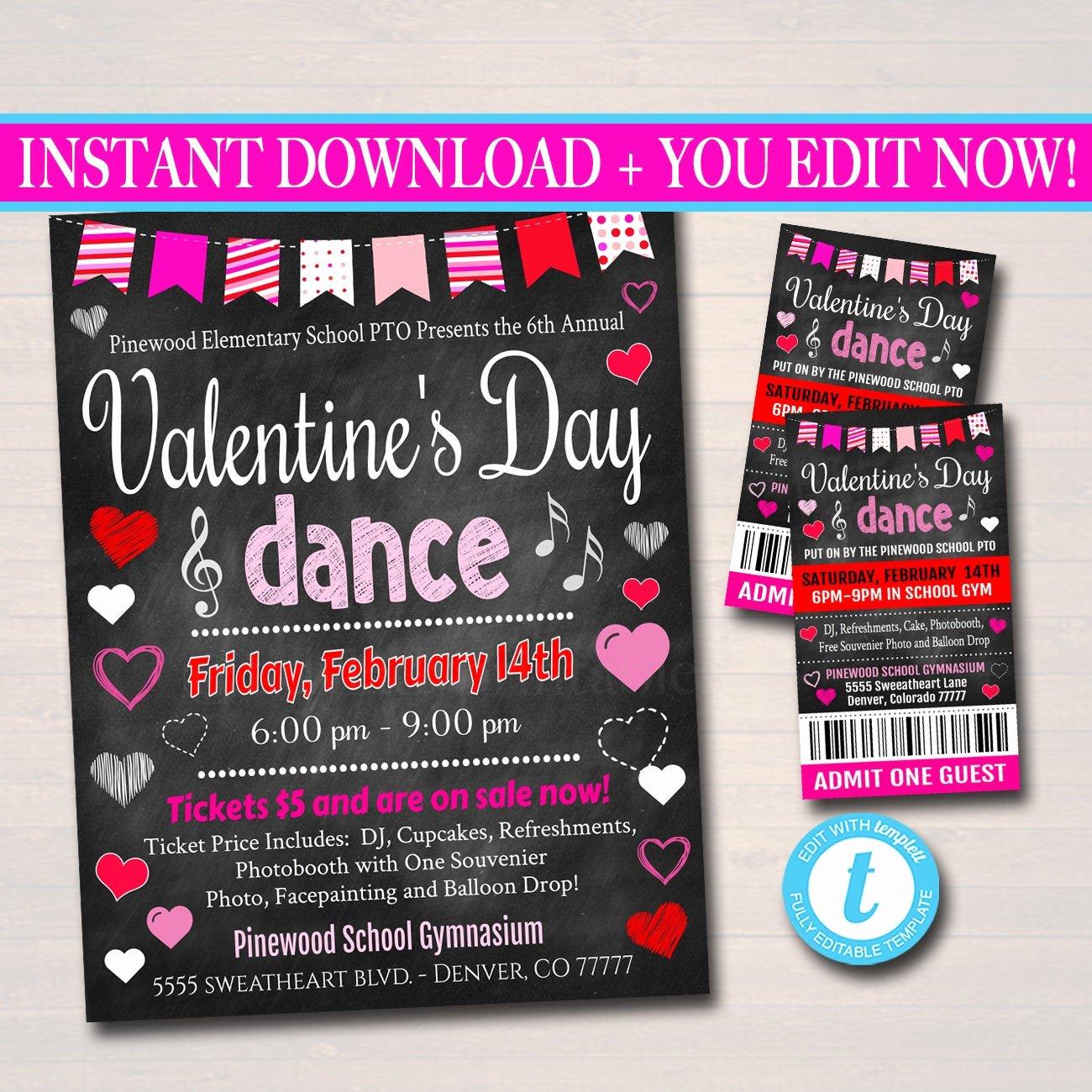 School Dance Flyer Template Unique Editable Valentine S Day Dance Set School Dance Flyer