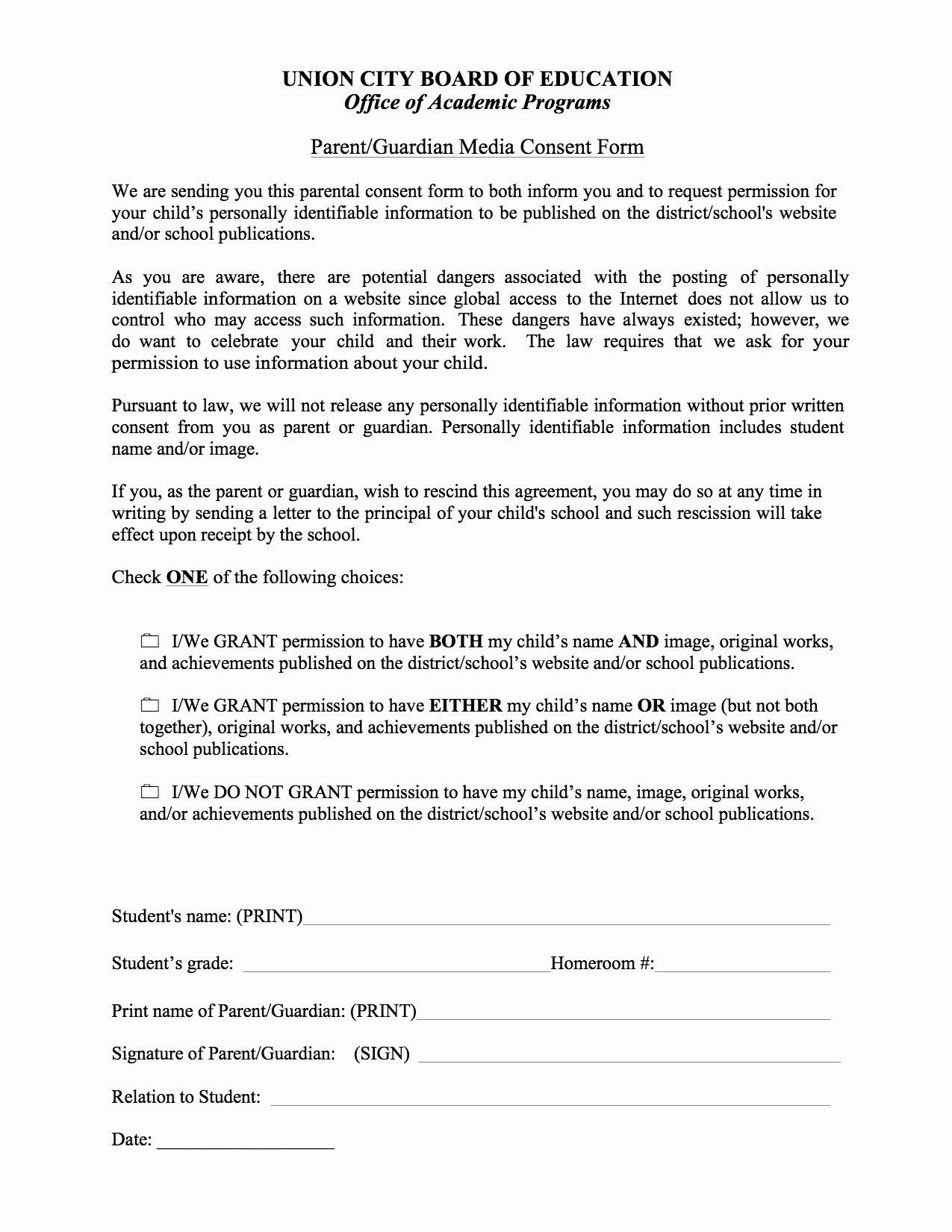 School Media Release form Awesome Parent Consent form Basics Union City Public Schools