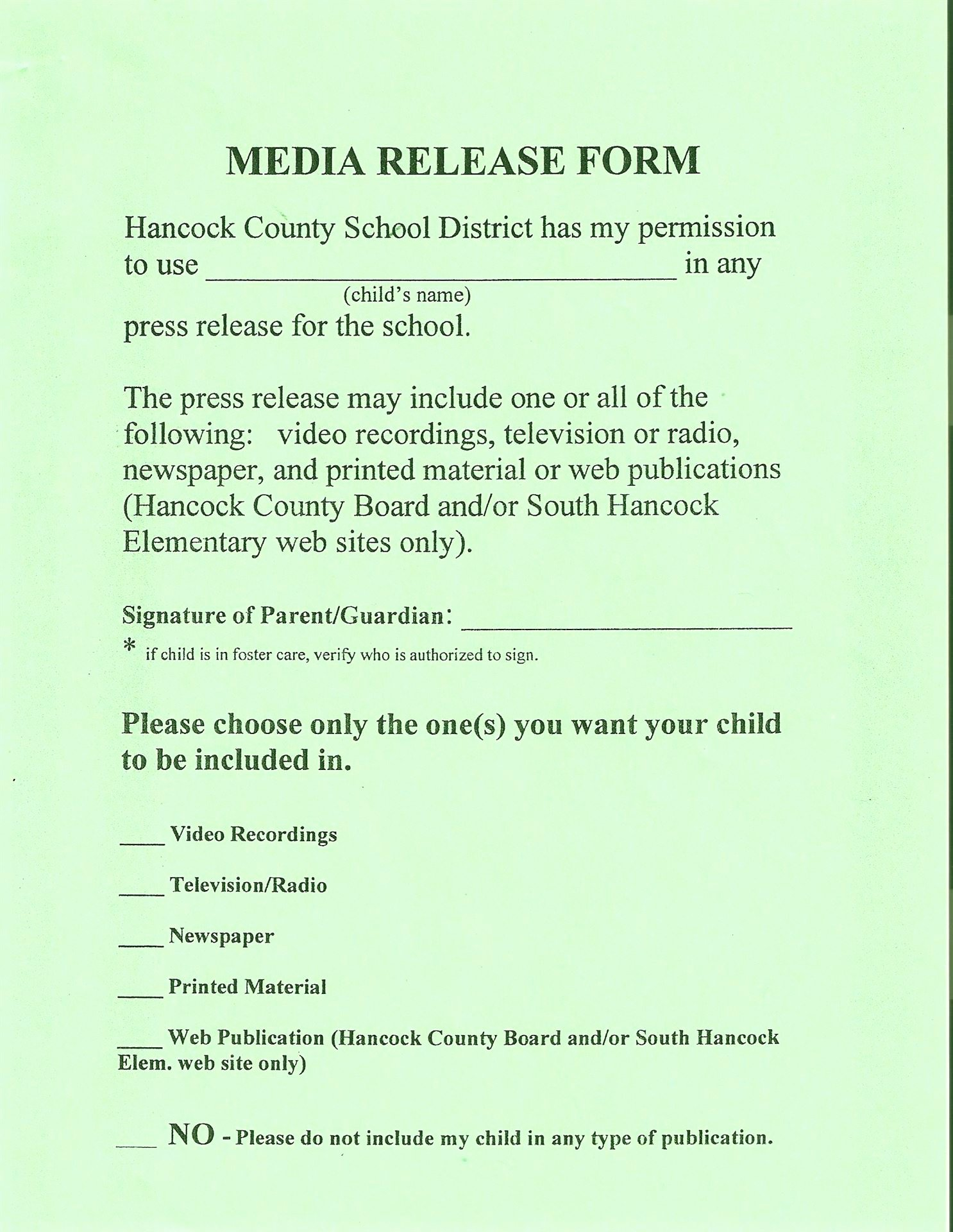School Media Release form Best Of Hancock County Schools