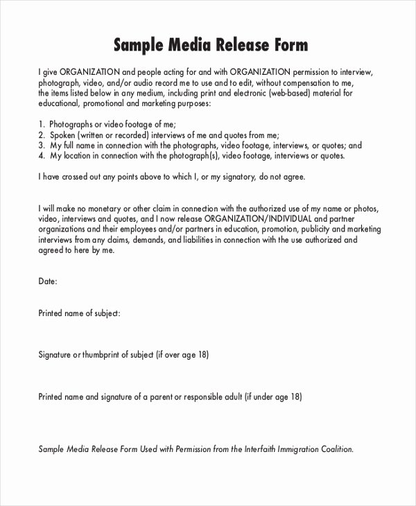 School Media Release form Elegant Sample Media Release form 10 Free Documents In Pdf