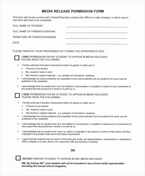 School Media Release form Fresh Generic Release forms
