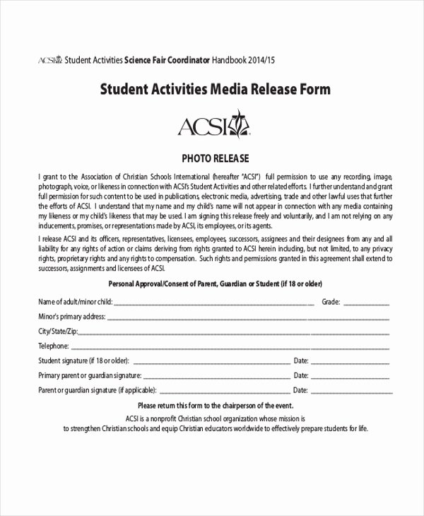 School Media Release form Inspirational Sample Media Release form 10 Free Documents In Pdf