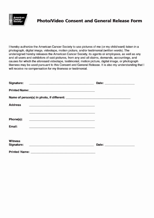School Media Release form Lovely Video Consent and General Release form Printable Pdf