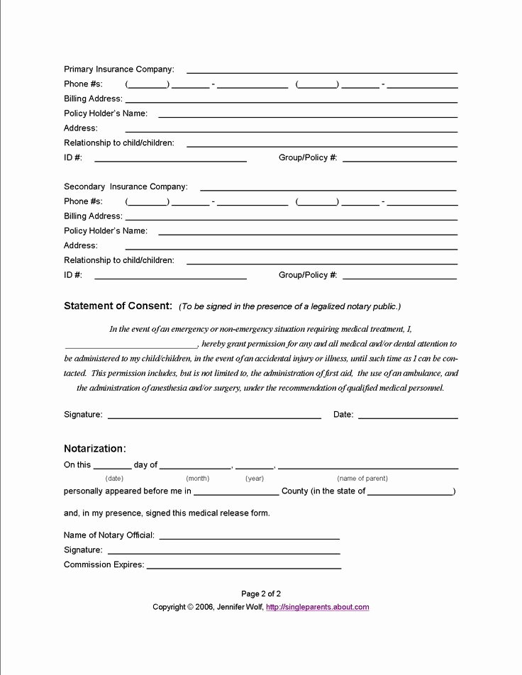 School Media Release form Luxury Example Medical Release form Page 2 From Jennifer Wolf
