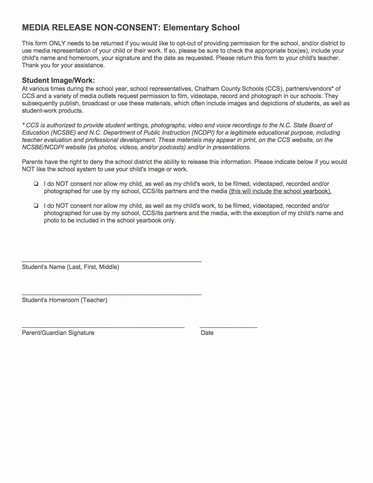School Media Release form Luxury Parents Media Participation