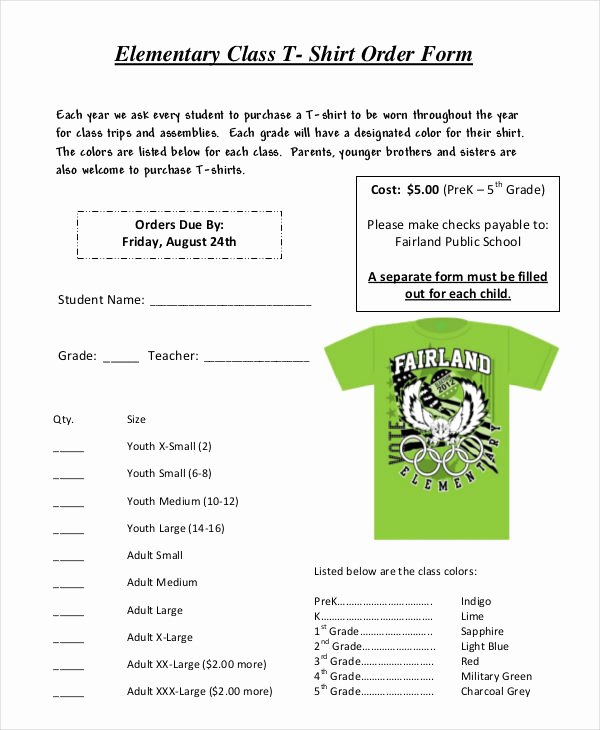 School Photo order form Template Beautiful 12 T Shirt order forms Free Sample Example format