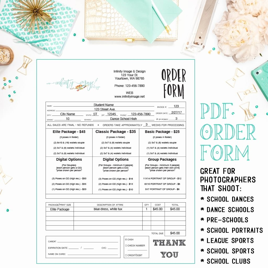 School Photo order form Template Luxury Dance Sports School Preschool Daycare Graphy