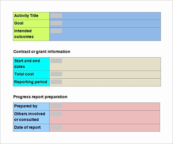 School Progress Report Template Awesome Free 15 Sample Progress Report Templates In Pdf