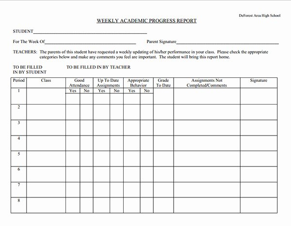 School Progress Report Template Beautiful Weekly Academic Progress Report Template Sample for School