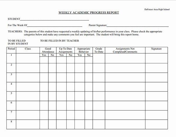 School Progress Report Template Beautiful Weekly Academic Progress Report Template Sample for School